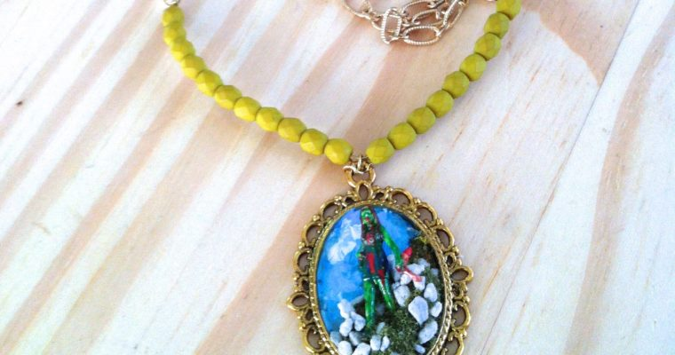 Handmade Dawn of the Dead Zombie Inspired Cameo Necklace